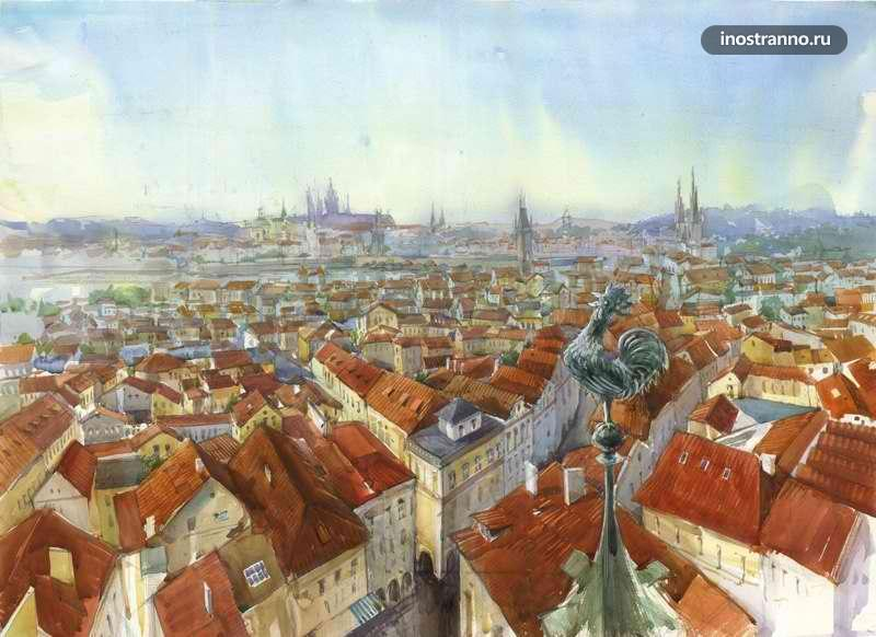 Картина красные крыши Праги