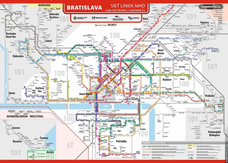 Карта общественного транспорта Братиславы