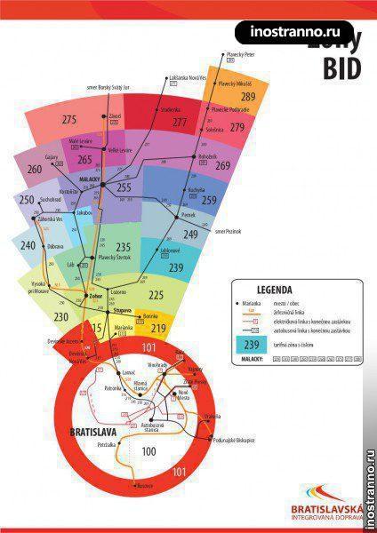 Тарифные зоны Братиславы, карта