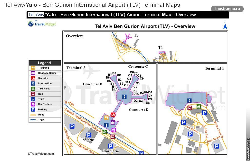 Карта аэропорта Тель-Авива