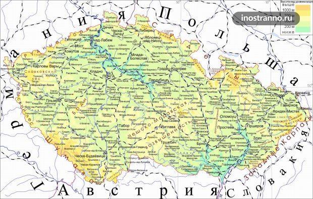 Карта Чехии на русском языке