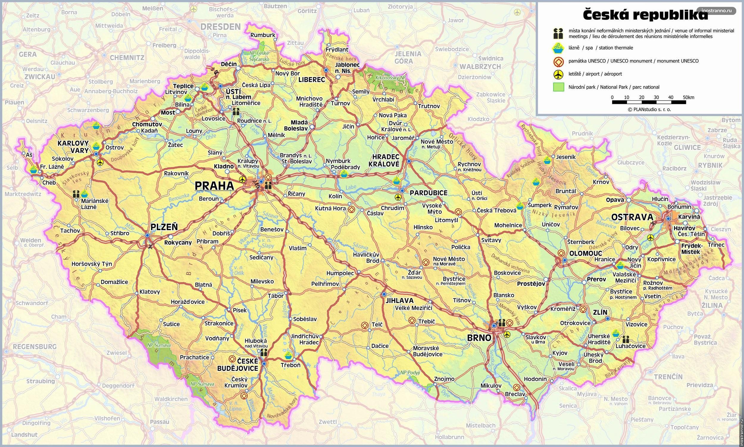 Подробная карта Чехии