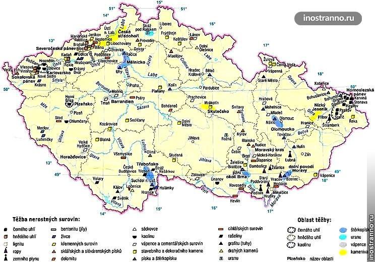 Карта Чехии - полезные ископаемые