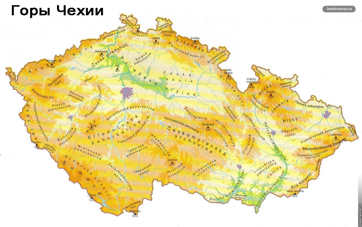 Карта Чехии с горами и курортами