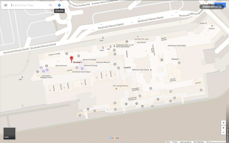 Аэропорт Ниццы карта Терминал 1