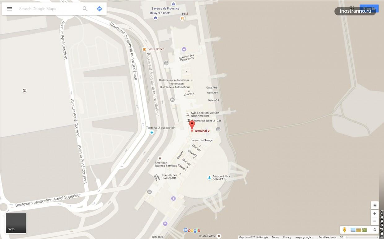 Аэропорт Ниццы карта Терминал 2
