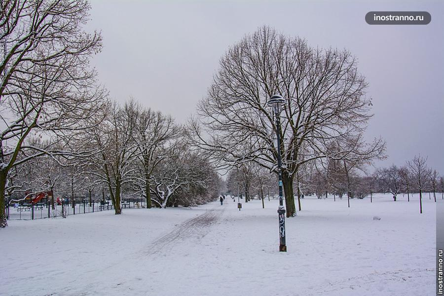 Глубина выпавшего снега в Праге