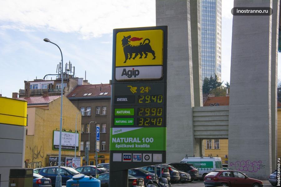 Цены на бензин в Чехии
