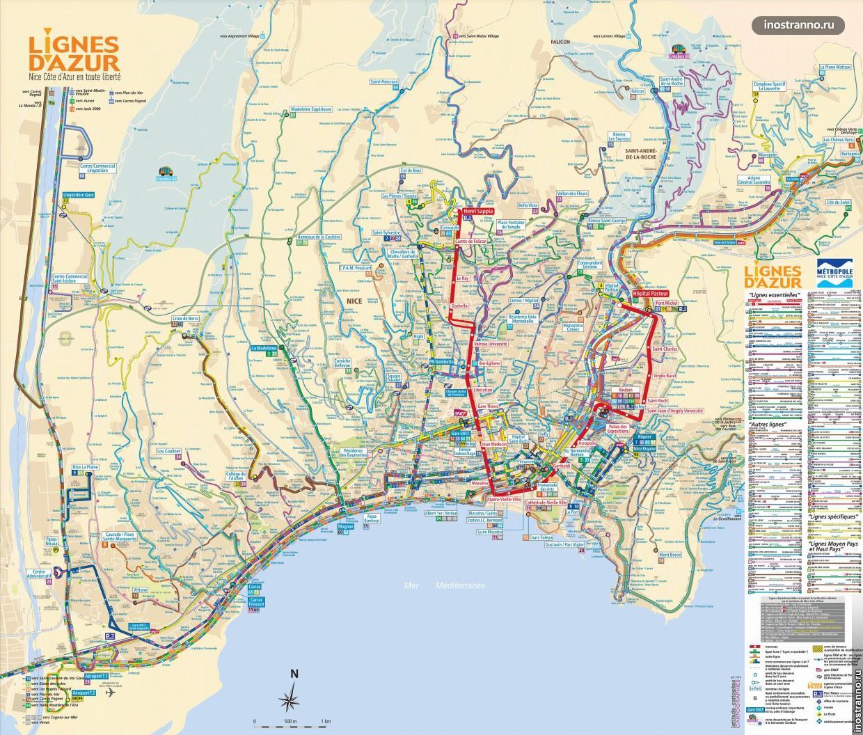 Общественный транспорт Ниццы карта