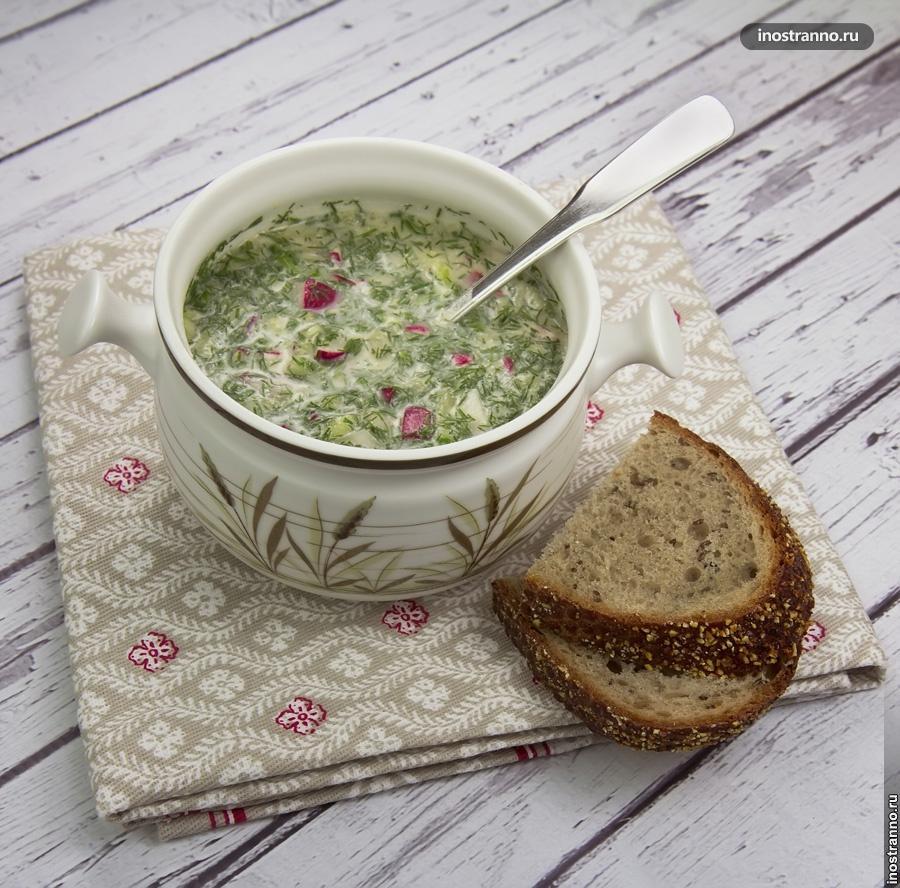 Холодный русский суп Окрошка