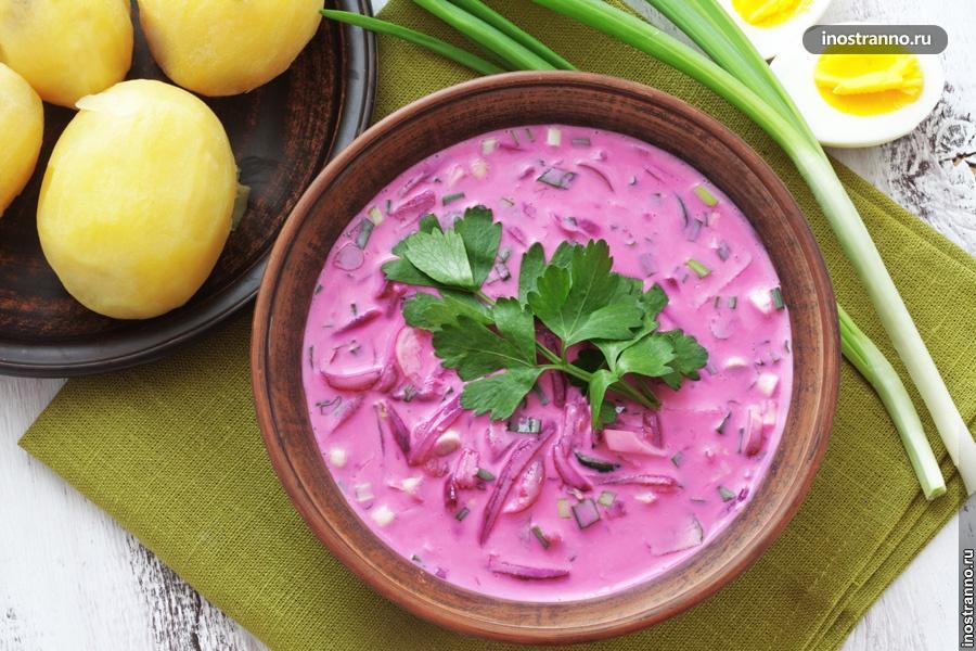 Холодный украинский суп Свекольник