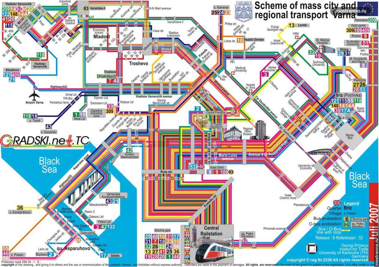 Варна карта общественный транспорт