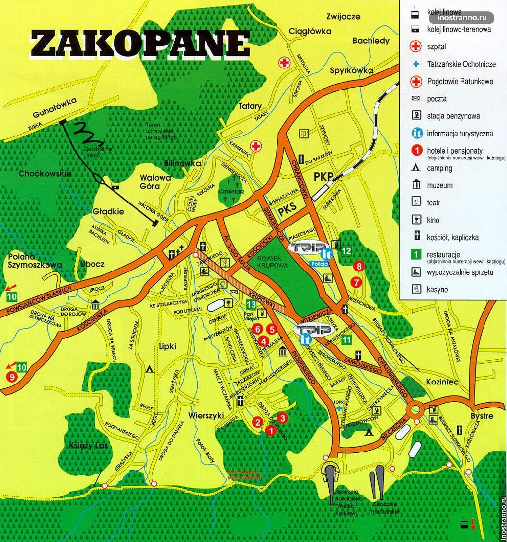 Карта Закопане с достопримечательностями на русском языке