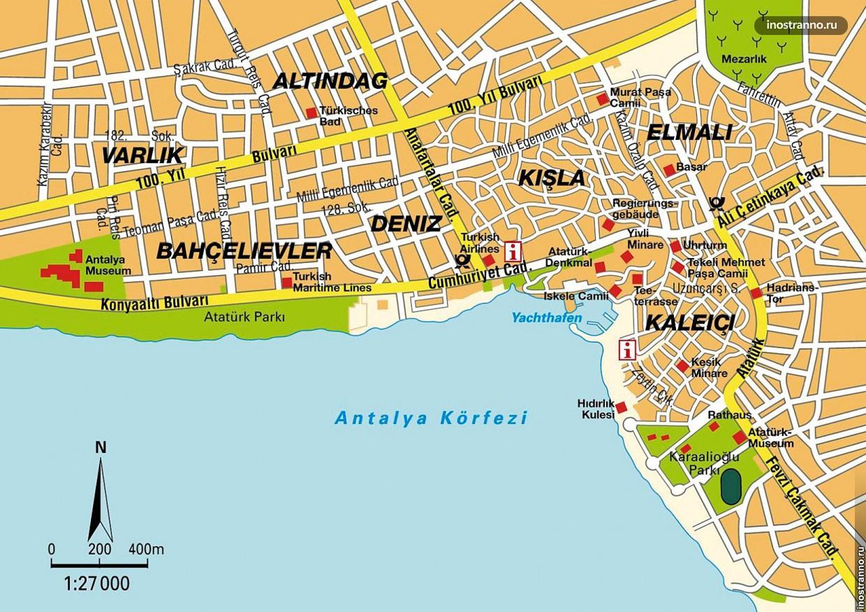 Карта центра Анталии