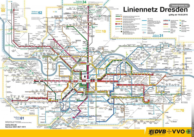 Карта трамвайные маршруты Дрездена