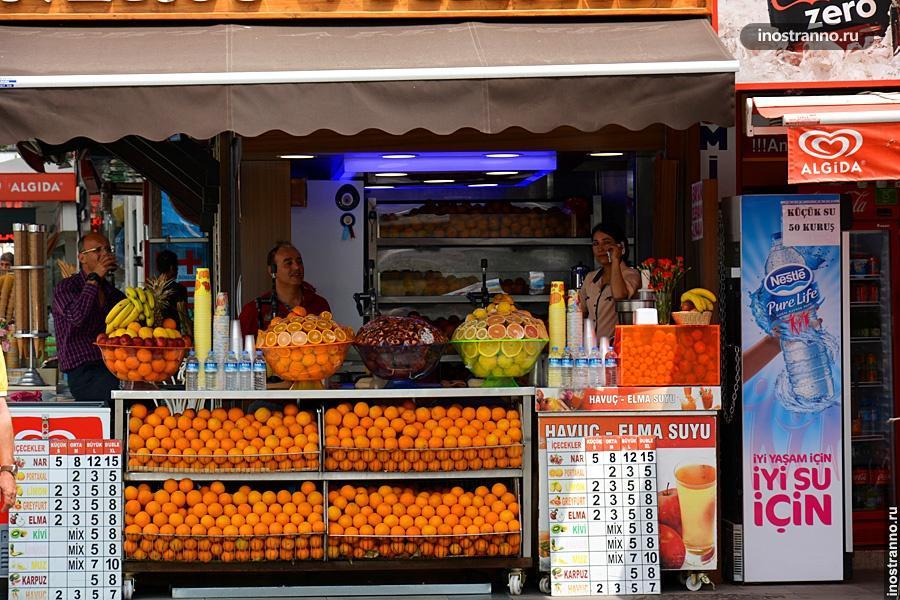 Свежий апельсиновый сок в Анталии
