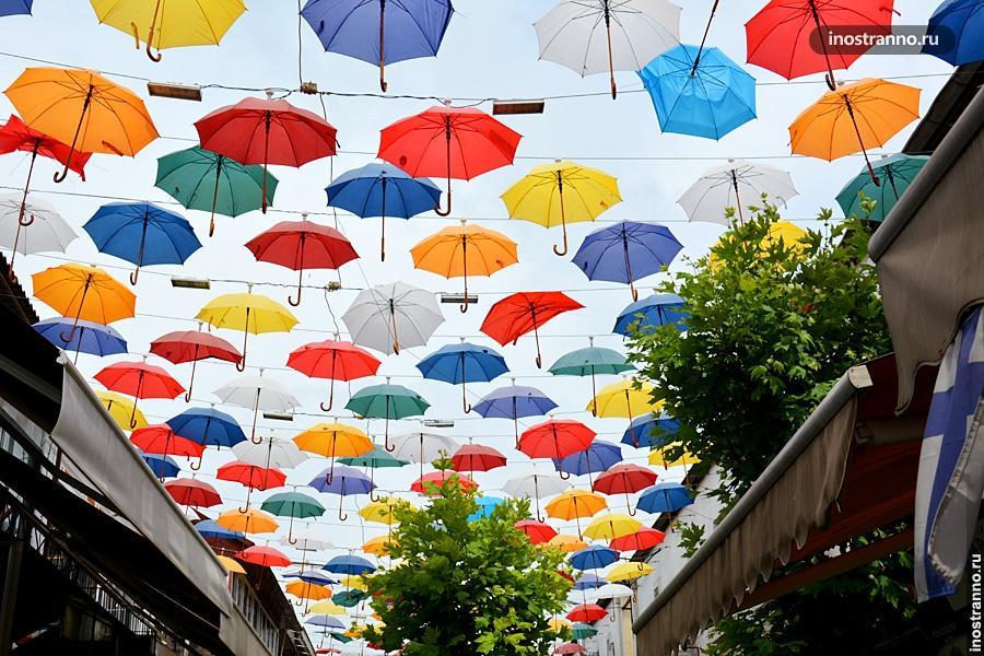 Улица с зонтиками в Анталии