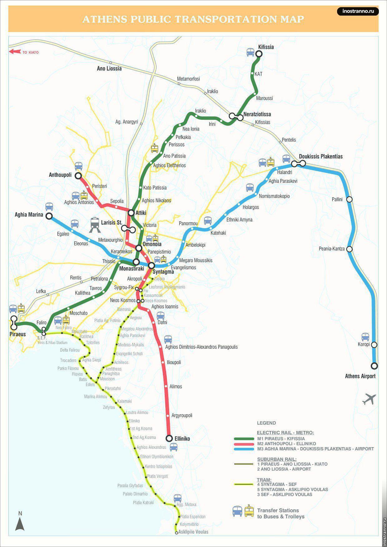 Карта трамваев Афин