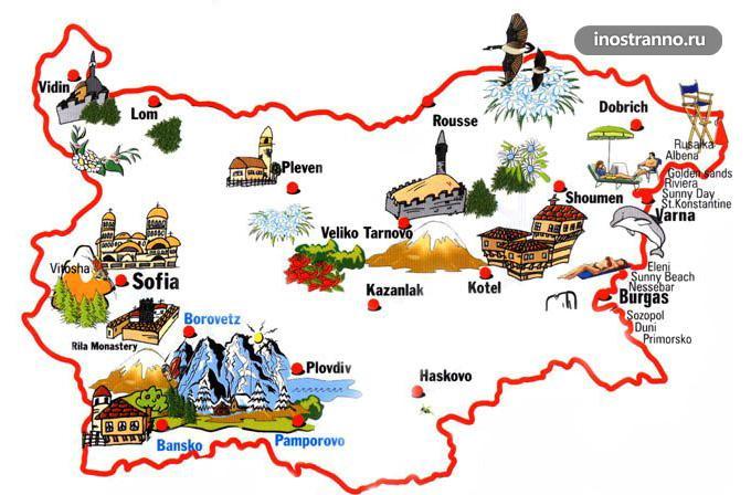 Болгария достопримечательности на карте