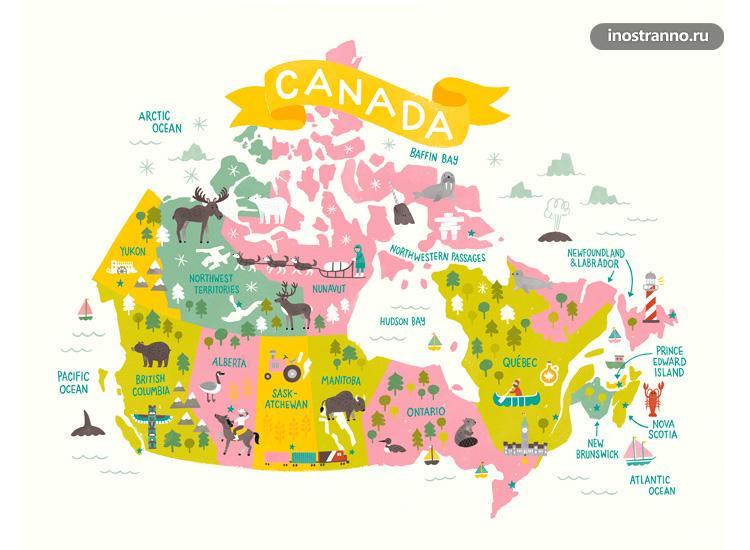 Канада карта достопримечательностей