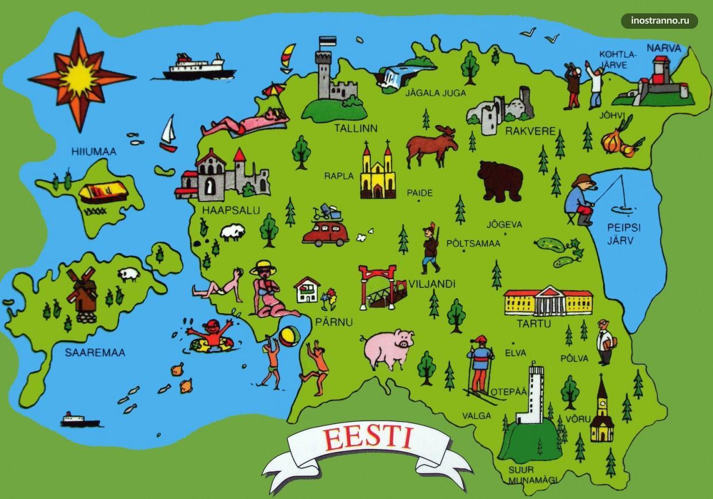 Эстония карта достопримечательностей