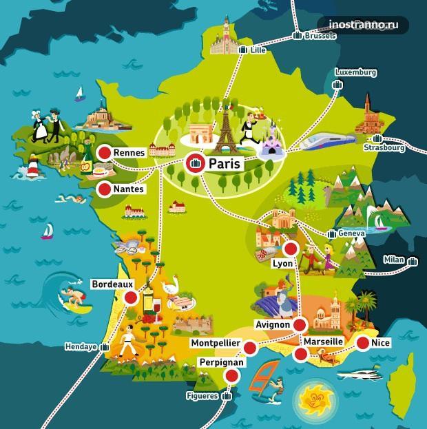 Франция карта достопримечательностей