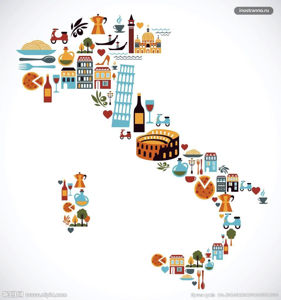 Карта Италии с достопримечательностями