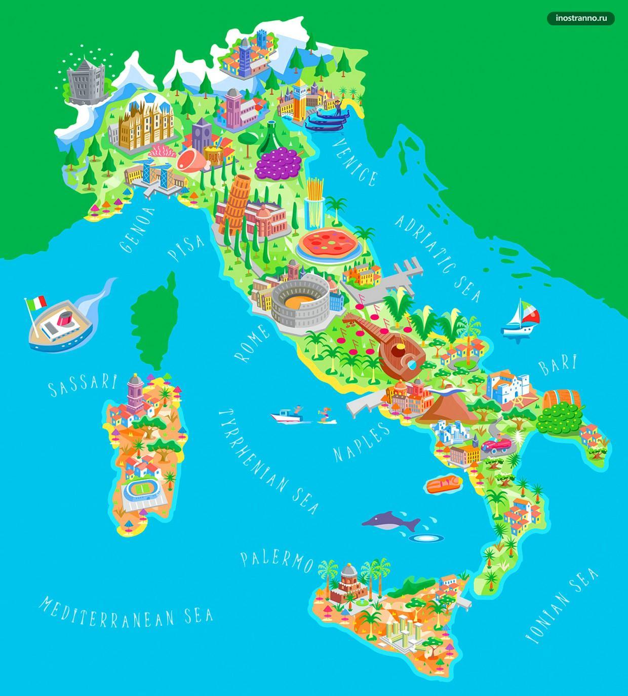 Италия карта достопримечательностей