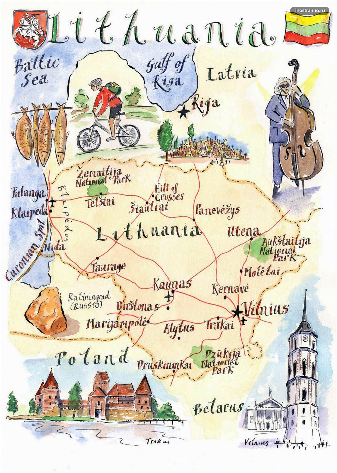 Литва карта достопримечательностей