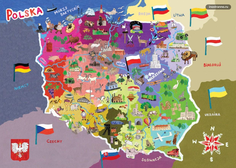 Польша карта достопримечательностей