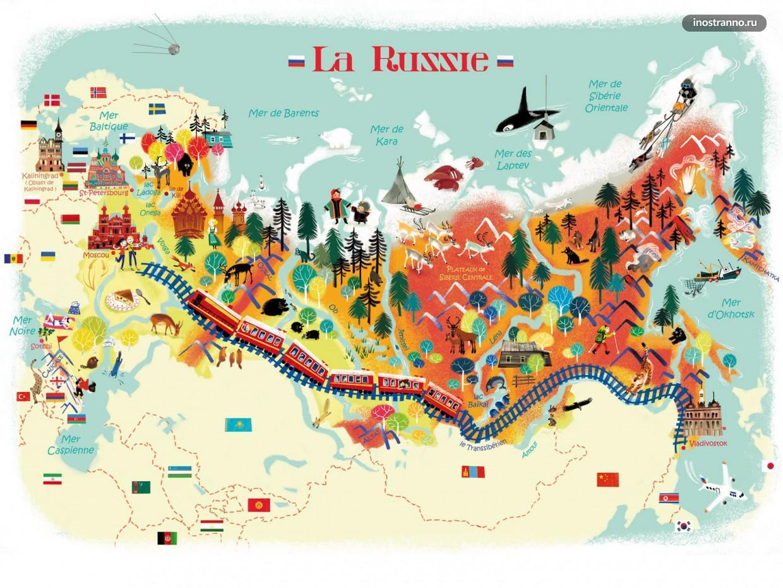 Россия карта достопримечательностей