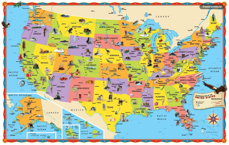 Карта США с достопримечательностями
