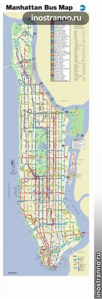 Карта автобусов Нью-Йорка, Манхэттен