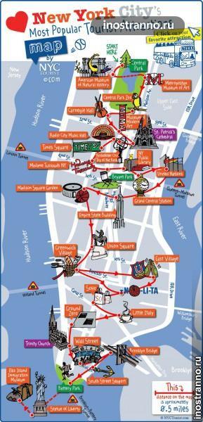Карта достопримечательностей Нью-Йорка