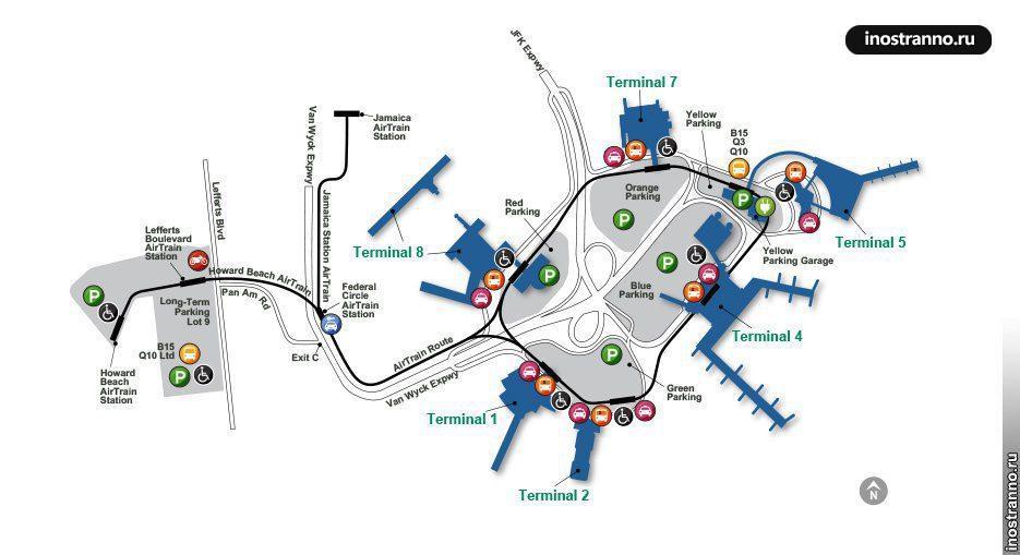 Схема аэропорта Нью-Йорка