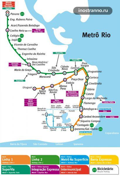 Карта метро Рио-де-Жанейро