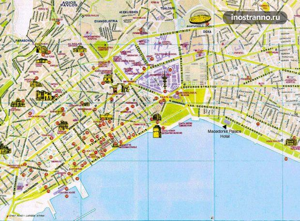 Карта Салоники с достопримечательностями