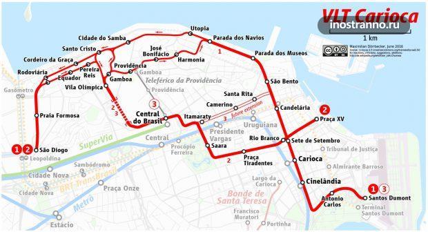 Карта трамвай в Рио-де-Жанейро