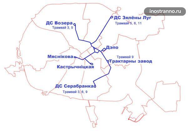 Схема трамваев Минска