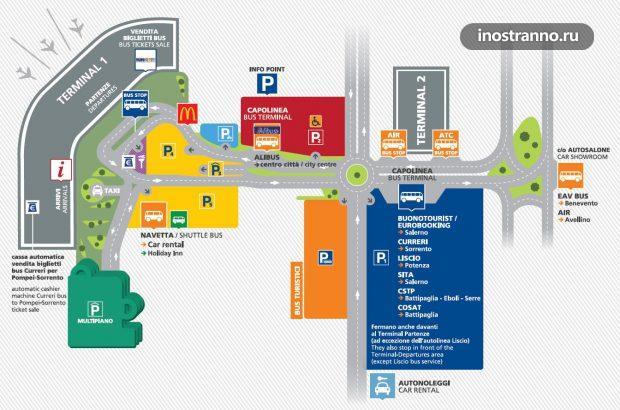 Карта аэропорта Неаполя