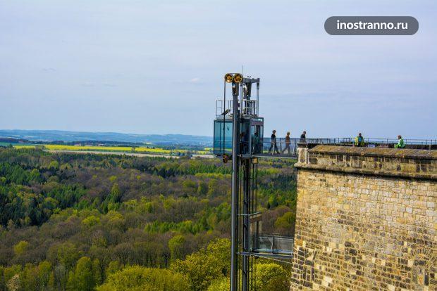 Панорамный лифт в крепость Кёнигштайн