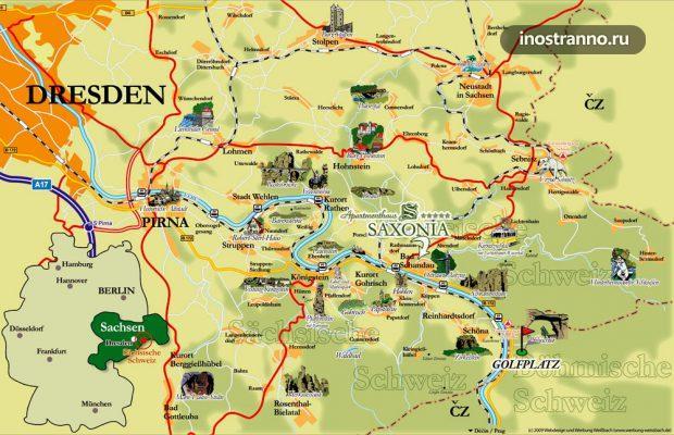 Саксонская Швейцария Карта