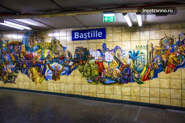 Оформление станции Бастилия метро Парижа