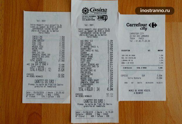 Стоимость продуктов в Париже