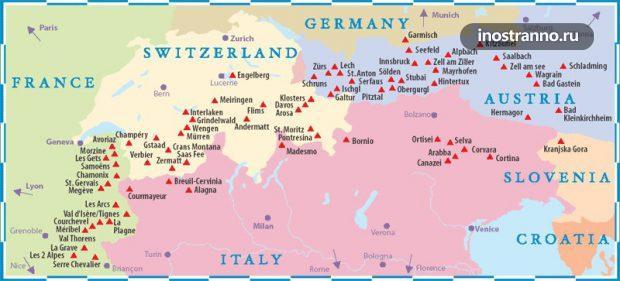 Карта лыжных курортов Европы