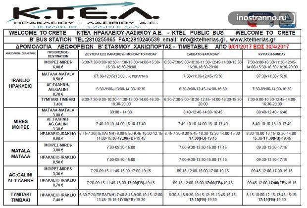 Расписание автобусов на Крите