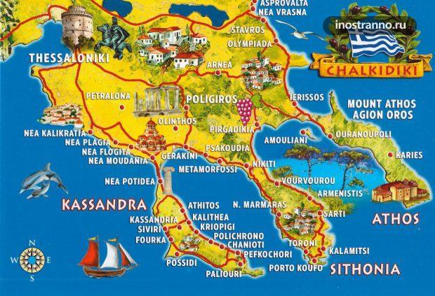 Карта Халкидики