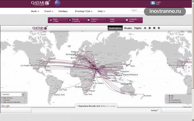 Карта полетов Катарских авиалиний