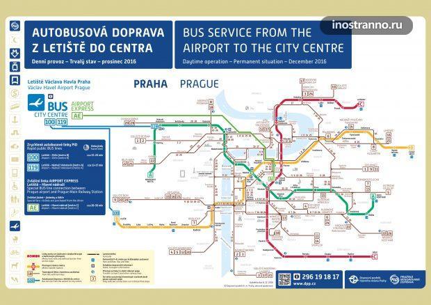Карта автобусных маршрутов и метро из аэропорта Праги