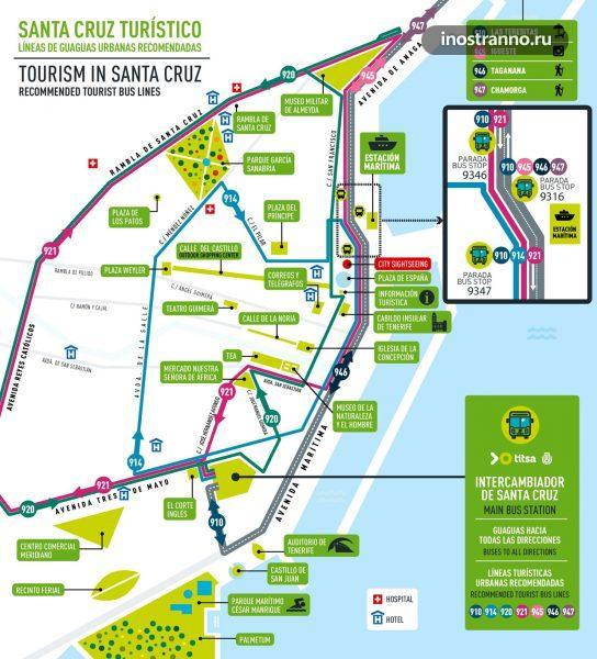 Карта маршрутов автобусов в Санта-Крус